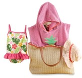 Baby Aspen Infant Boy's Tropical Hooded Towel, Swimsuit, Sun Hat & Tote Set