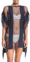 Pilyq Monique Shredded Fringe-Trim Coverup, Nile