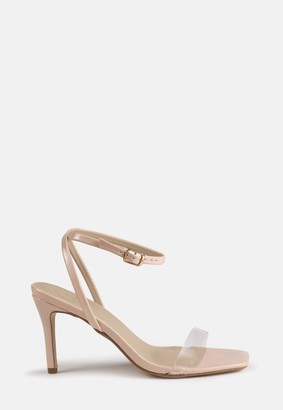 Missguided Nude Clear Mid Barely There Heels
