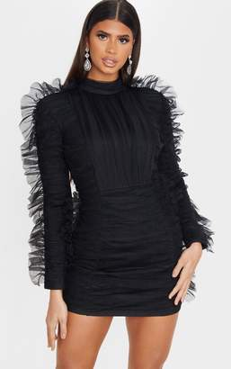 PrettyLittleThing Black Bandage Chiffon Frill Bodycon Dress