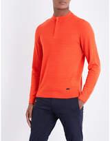 Armani Collezioni Zigzag-stitched wool sweatshirt