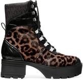MICHAEL Michael Kors Khloe Shearling-Trimmed Leopard-Print Calf Hair & Patent Leather Combat Boots