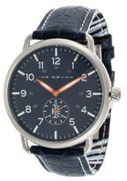 Ike Behar Round Stainless Steel & Leather Strap Analog Watch