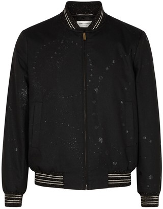 Saint Laurent Black jacquard twill bomber jacket