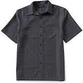 Roundtree & Yorke Short-Sleeve Polynosic Windowpane Plaid Point Collar Sportshirt