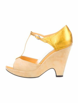 Tod's Suede T-Strap Sandals Yellow