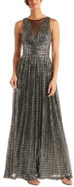 Night Way Nightway Metallic Illusion Gown