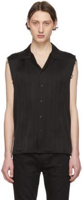 Saint Laurent Black Silk Stripe Sleeveless Shirt