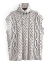Goodnight Macaroon 'Chloe' Sleeveless Cable Knit Turtleneck Sweater