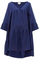 Anaak - Airi Step-hem Silk-habotai Dress - Womens - Navy