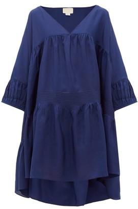 Anaak - Airi Step-hem Silk-habutai Dress - Womens - Navy