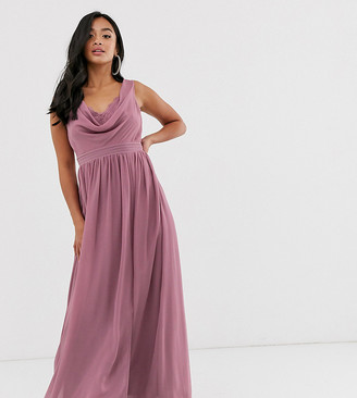Little Mistress Petite cowl neck tulle maxi dress