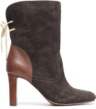 See by Chloe Lara Lace-up Leather-paneled Suede Ankle Boots