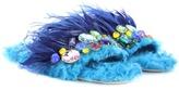 Miu Miu Faux fur flat with crystal embellishment