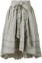 Aleksandr Manamis apron wrap travertine skirt - women - Cotton/Linen/Flax - 0