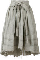 Aleksandr Manamis apron wrap travertine skirt - women - Cotton/Linen/Flax - II