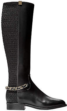 Cole Haan Women's Idina Chain Stretch-Leather Riding Boots