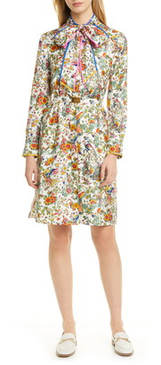 Tory Burch Print Contrast Binding Long Sleeve Silk Shirtdress