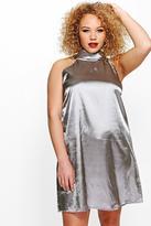 Boohoo Plus Layla High Neck Satin Shift Dress