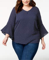 ING Trendy Plus Size Printed Tie-Back Bell-Sleeve Top