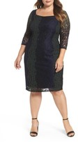 Sangria Plus Size Women's Colorblock Lace Sheath Lace