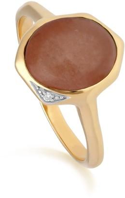 Irregular Dyed Red Jade & Diamond Ring