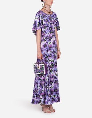 Dolce & Gabbana Long Charmeuse Dress With Anemone Print