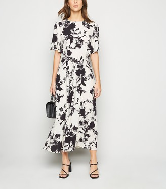 New Look Floral Fitted Waist Midi Dress