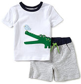Starting Out Baby Boys 12-24 Months Alligator-Appliqued Short-Sleeve Tee & Shorts Set