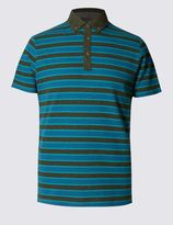 Marks and Spencer Pure Cotton Bubble Striped Slim Fit Polo Shirt