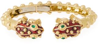 David Webb 18k Gold Baby Frog Cuff Bracelet in Red Enamel
