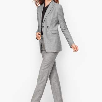 Talbots Luxe Classic Glen Plaid Double Breasted Blazer
