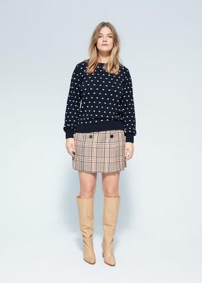 MANGO Violeta BY Embossed polka-dot sweater dark navy - S - Plus sizes