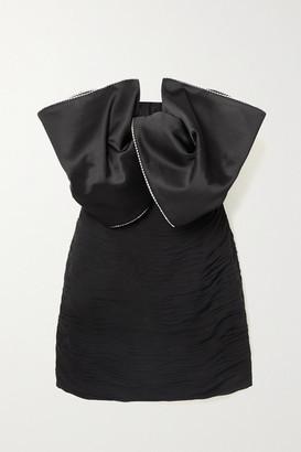 Magda Butrym Georgette And Swarovski Crystal-embellished Silk-satin Mini Dress - Black