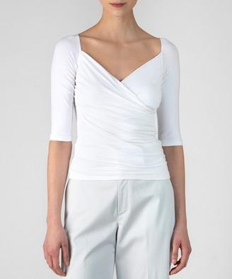 Atm Pima Cotton Crossover Half Sleeve Top - White