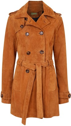 Zut London Suede Leather Short Trench Coat - Honey