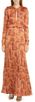 Johanna Ortiz Toile Palm Print Long Sleeve Georgette Maxi Dress