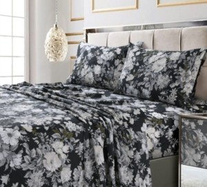 Tribeca Living Vernazza Printed 300 Tc Cotton Sateen Extra Deep Pocket King Sheet Set Bedding