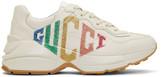 Gucci Ivory Rhyton Rainbow Glitter Sneakers