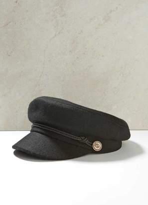 Mint Velvet Black Military Baker Boy Hat