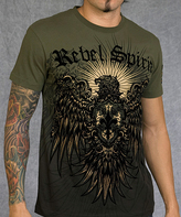 Rebel Spirit Green 'Rebel Spirit' Eagle Shield Tee - Men's Regular