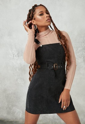 Missguided Black Belted Cord Pinafore Dress
