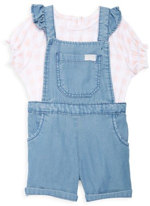 7 For All Mankind Baby's & Little Girl's 2-Piece Printed Top & Ruffle Denim Shortall Set