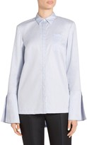 St. John Oxford Shirting Bell Sleeve Hi-Low Shirt