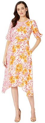 Donna Morgan Short Sleeve Georgette Dress with Asymmetrical Hem and Twin Print (Pink/Orange) Women's Clothing