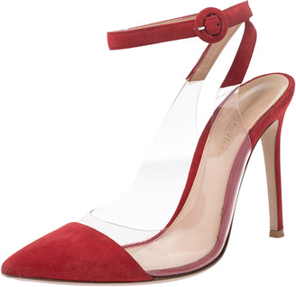 Gianvito Rossi Red Leather And Suede Anise Pointed Toe Ankle Strap Sandals Size 38