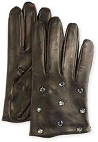 Portolano Crystal-Embellished Leather Gloves, Black