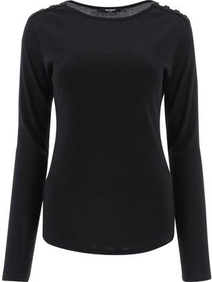 Balmain Button Detail Long Sleeve T-Shirt