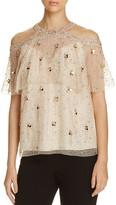 Elie Tahari Genevieve Embellished Silk Cold-Shoulder Blouse