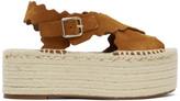 Chloé Tan Suede Espadrilles Flat Sandals